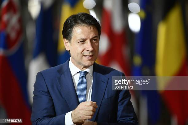 Italy's Prime Minister Giuseppe Conte arrives for a European Union Summit at European Union Headquarters in Brussels on October 18, 2019.