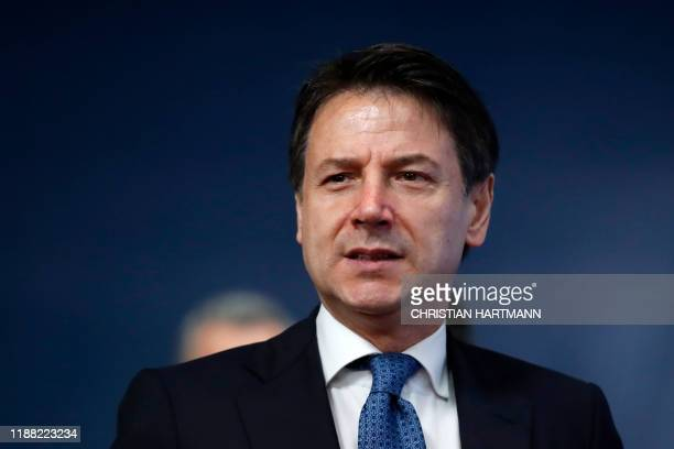 Italy's Prime Minister Giuseppe Conte arrives for the second day of a European Union Summit at the Europa building in Brussels on December 13, 2019....