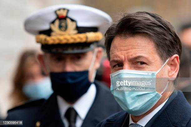 Italy's Prime Minister Giuseppe Conte arrives to take part on January 15, 2021 in a ceremony to replace the Commander General of the Carabinieri...