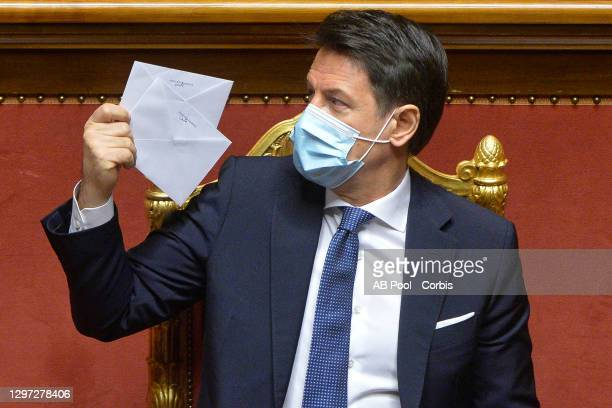 Italy's Prime Minister Giuseppe Conte attends a confidence vote at the Italian Senate, on January 19, 2021 in Rome, Italy. Following the resignation...
