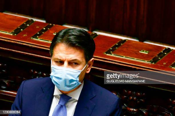 Italy's Prime Minister Giuseppe Conte attends on January 18, 2021 a debate following his address to the lower house of parliament at Palazzo...