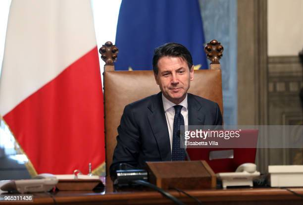 Italys Prime Minister Giuseppe Conte attends the first session of the council of ministers at Palazzo Chigi on June 1, 2018 in Rome, Italy. Law...