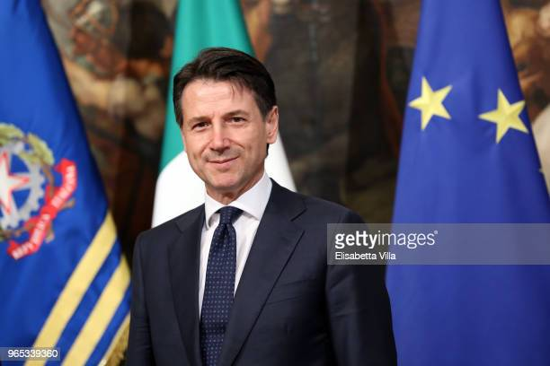 Italy's Prime Minister Giuseppe Conte attends the first session of the council of ministers at Palazzo Chigi on June 1 2018 in Rome Italy Law...