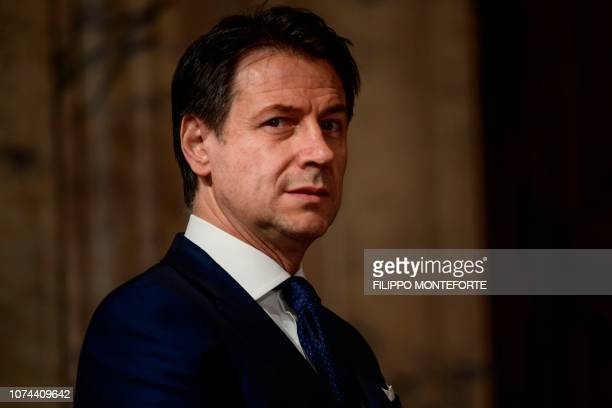 Italys Prime Minister Giuseppe Conte attends the presentation of the highest offices of the state's Christmas wishes to Italy's president on December...