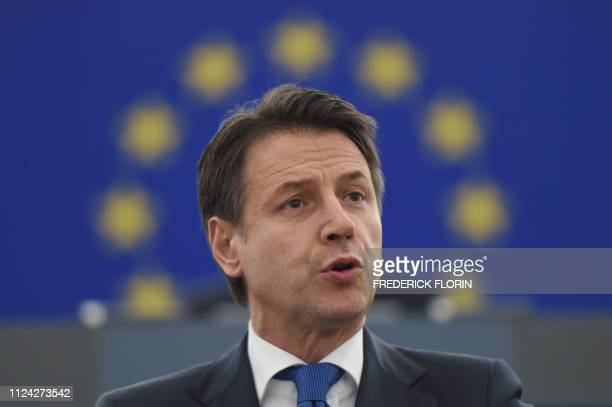 Italys Prime Minister Giuseppe Conte delivers a speech as part of a debate on the futur of Europe during a plenary session at the European Parliament...