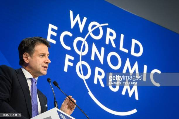 Italy's Prime Minister Giuseppe Conte delivers a speech during the World Economic Forum annual meeting on January 23 2019 in Davos eastern Switzerland