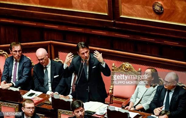 Italy's Prime Minister Giuseppe Conte gestures as he delivers a speech during the new government's confidence vote on September 10 2019 at the Senate...