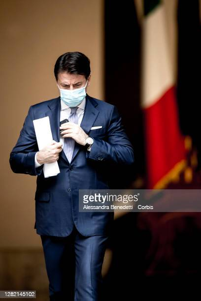 Italy's Prime Minister Giuseppe Conte Holds A Press Conference On New Covid-19 Measures on October 25, 2020 in Rome, Italy. Italy has imposed fresh...