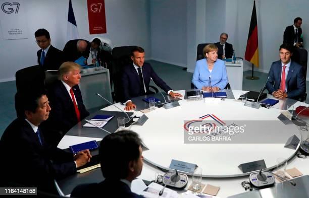 Italy's Prime Minister Giuseppe Conte Japan's Prime Minister Shinzo Abe US President Donald Trump France's President Emmanuel Macron Germany's...