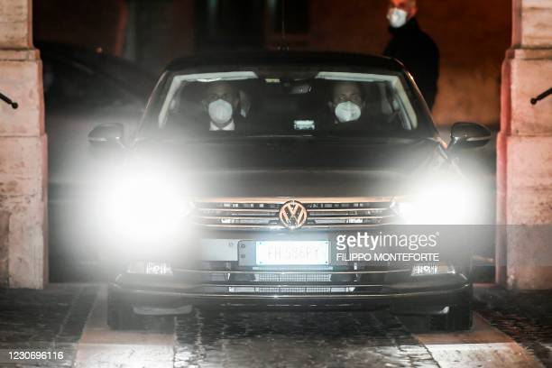 Italy's Prime Minister Giuseppe Conte leaves the Quirinale presidential palace on January 20, 2021 in Rome, following a meeting with Italy's...