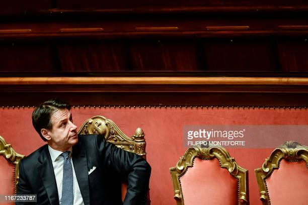 Italy's Prime Minister Giuseppe Conte looks on after he delivered a speech during the new government's confidence vote on September 10 2019 at the...