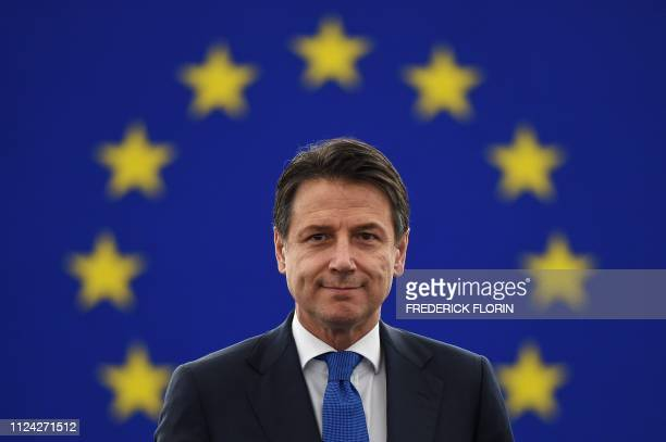 Italys Prime Minister Giuseppe Conte looks on as he arrives for a debate on the futur of Europe during a plenary session at the European Parliament...