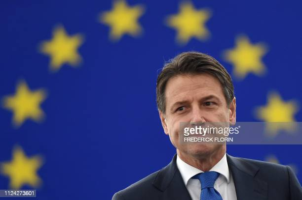 Italys Prime Minister Giuseppe Conte looks on as he arrives to deliver a speech as part of a debate on the futur of Europe during a plenary session...
