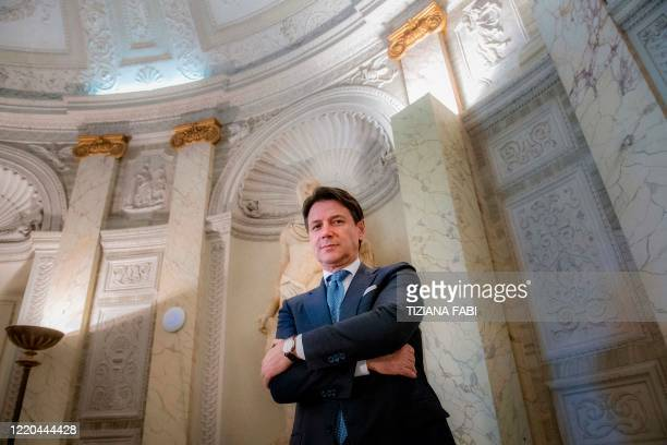 Italy's Prime Minister Giuseppe Conte poses within an interview with AFP at Villa Pamphilj in Rome on June 16 as the country eases its lockdown aimed...