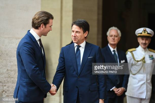 Italy's prime minister Giuseppe Conte shakes hand with Austrian chancellor Sebastian Kurz upon his arrival at Palazzo Chigi for their meeting on...