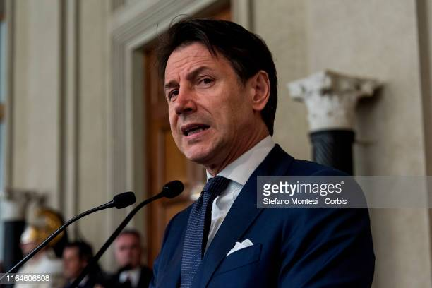 Italy's Prime Minister Giuseppe Conte speaks to the media during a press conference after he was designated to form a new government by the President...