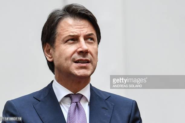 Italy's Prime Minister Giuseppe Conte waits for the arrival of Portugal's President for their meeting at Palazzo Chigi on November 12 2019 in Rome