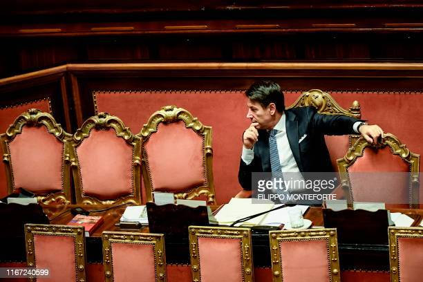 Italy's Prime Minister Giuseppe Conte waits while the new government's confidence vote is being held on September 10 2019 during at the Senate in...