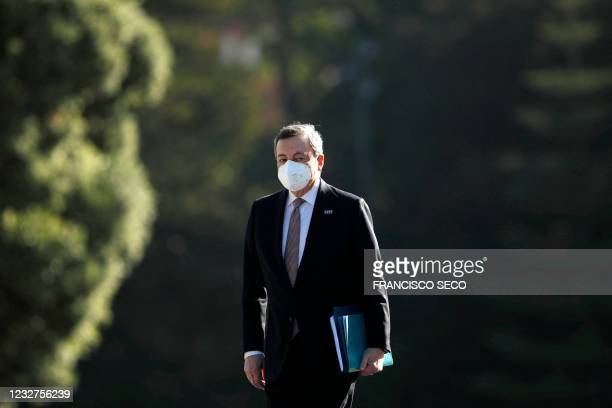 Italy's Prime Minister Mario Draghi arrives at the Palacio de Cristal for an informal meeting in the framework of the European Social Summit in...