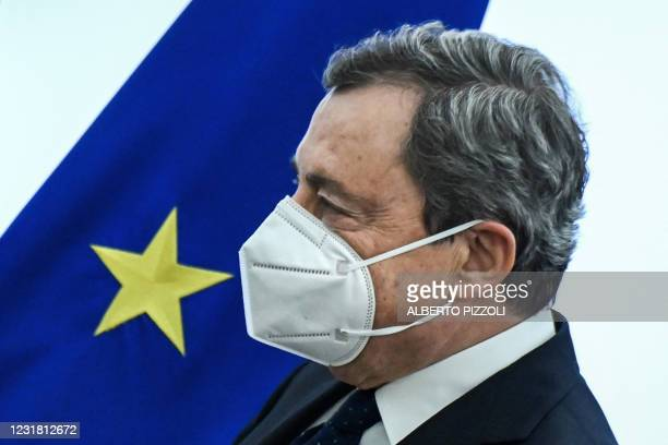 Italy's Prime Minister, Mario Draghi leaves after holding a joint press conference with Italy's Economy Minister and Italy's Minister for Labour and...