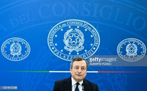 Italy's Prime Minister, Mario Draghi speaks during a joint press conference with Italy's Economy Minister and Italy's Minister for Labour and Social...