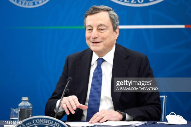 Italy's Prime Minister, Mario Draghi speaks during a press conference on March 26, 2021 in Rome amid the Covid-19 coronavirus pandemic.