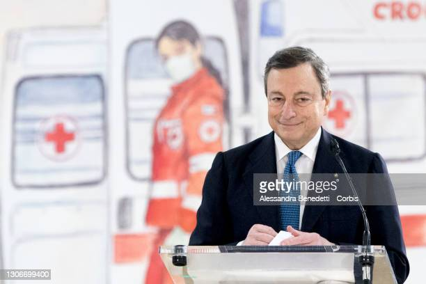 Italy's Prime Minister Mario Draghi visits the mass COVID-19 Vaccination hub at Fiumicino Airport on March 12, 2021 in Rome, Italy. The Italian...