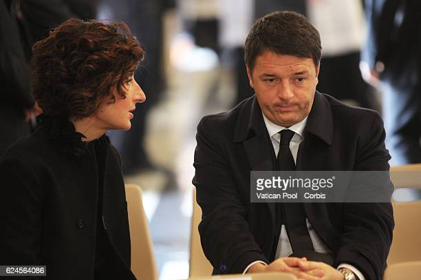 Italy's Prime Minister Matteo Renzi and First Lady Pope Agnese Renzi attend the closing ceremony of the Holy Door of St Peter's Basilica led by by...