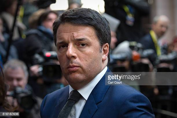 Italy's Prime Minister Matteo Renzi arrives on the first day of an EU summit at the Council of the European Union on March 17 2016 in Brussels...