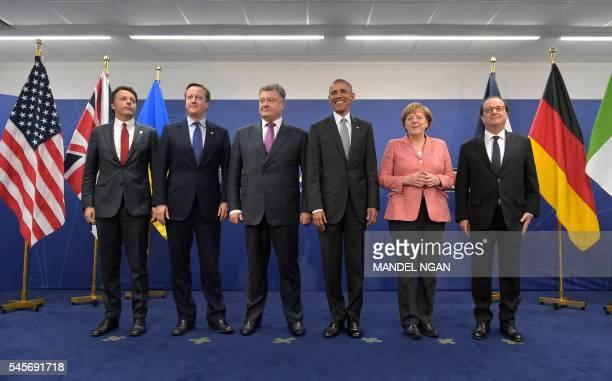 TOPSHOT Italy's Prime Minister Matteo Renzi Britain's Prime Minister David Cameron Ukraine's President Petro Poroshenko US President Barack Obama...