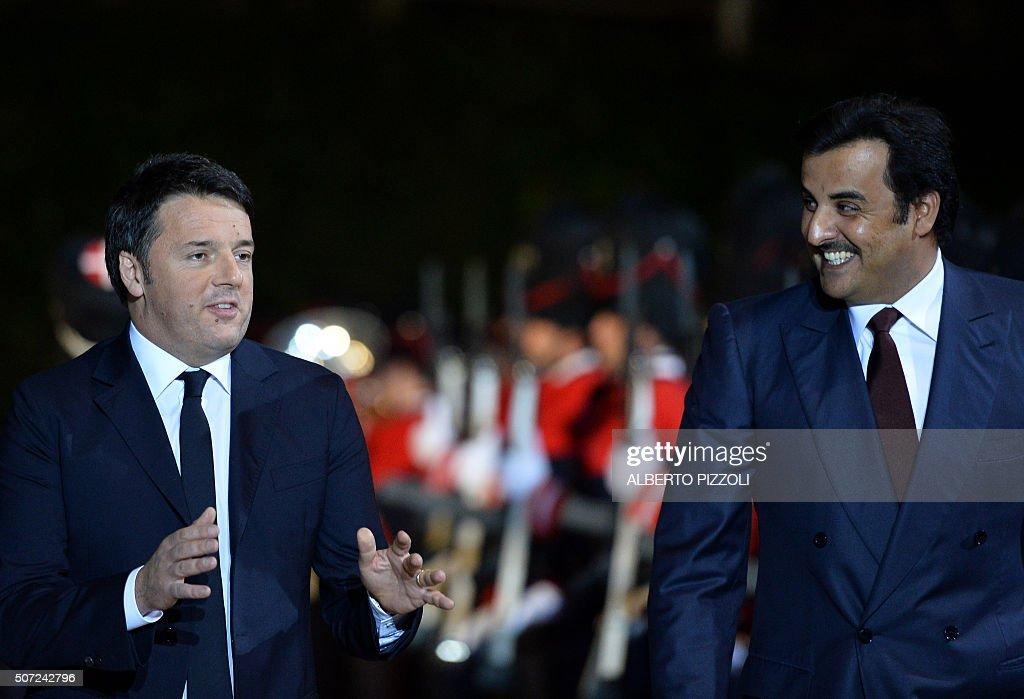 ITALY-QATAR-RENZI-AL-THANI : News Photo