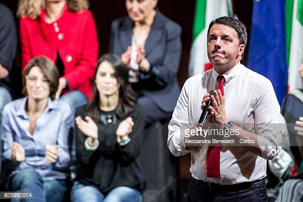 Italy's Prime Minister Matteo Renzi holds an electoral rally ahead of the referendum vote on November 26 2016 in Rome Italy