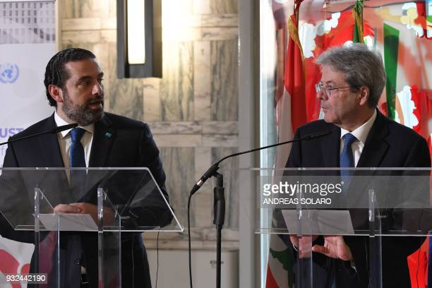 Italy's Prime Minister Paolo Gentiloni and Lebanese Prime Minister and Leader of the Future Movement Party Saad Hariri give a joint press conference...