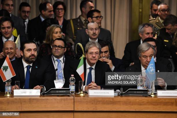 Italy's Prime Minister Paolo Gentiloni Lebanese Prime Minister and Leader of the Future Movement Party Saad Hariri and UN SecretaryGeneral Antonio...
