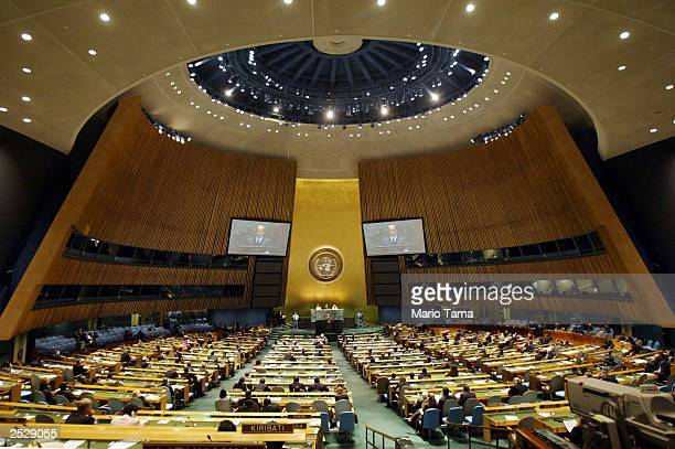 Italy's Prime Minister Silvio Berlusconi addresses the 58th session of the United Nations General Assembly at UN headquarters September 23, 2003 in...