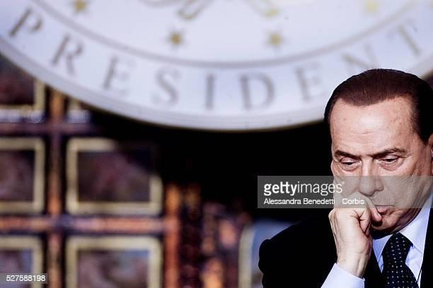Italy's Prime Minister Silvio Berlusconi at Villa Madama during a joint press conference with Leader of Libya Muammar Al Gaddafi.Gaddafi is making...