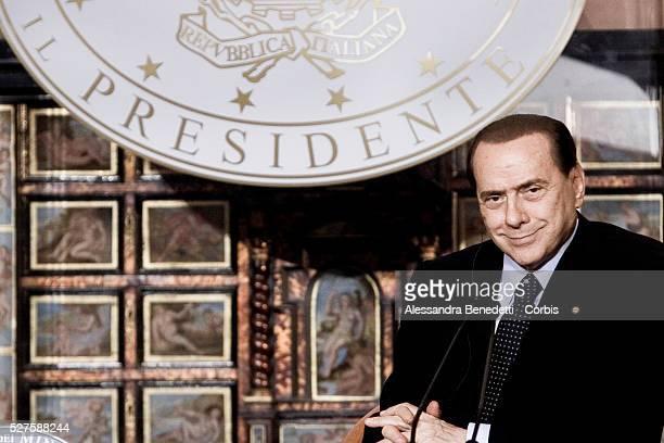 Italy's Prime Minister Silvio Berlusconi at Villa Madama during a joint press conference with Leader of Libya Muammar Al GaddafiGaddafi is making his...