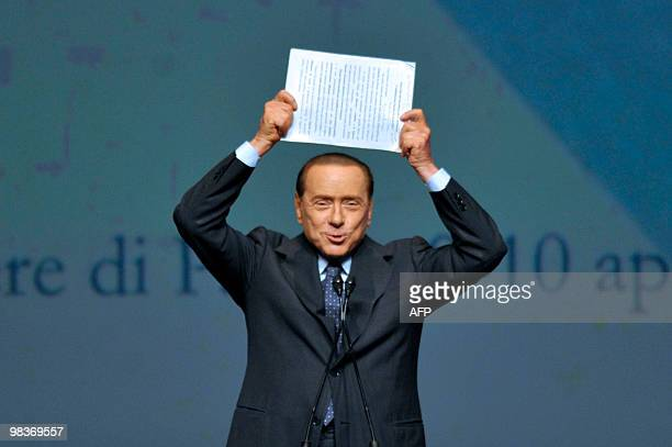 Italy's Prime Minister Silvio Berlusconi delivers a speech during a congress of the Italian employers' federation Confindustria on April 10, 2010 in...