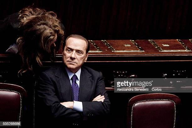 Italy's Prime Minister Silvio Berlusconi delivers his speech before voting the confidence at the Italian Deputy Chambers in Rome.