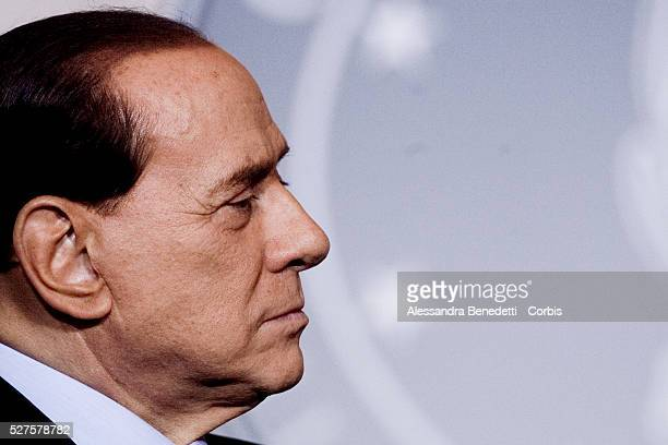 Italy's Prime Minister Silvio Berlusconi during a joint press conference with current Speaker of the United States House of Representatives Nancy...