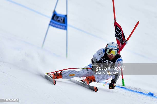 Italy's Riccardo Tonetti competes during the men's SuperG combined event of the FIS Alpine Ski World Cup in Bansko on February 22 2019