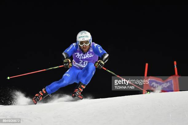 Italy's Riccardo Tonetti competes in the FIS Alpine World Cup Men's Parallel Giant Slalom on December 18 2017 in Alta Badia Italian Alps / AFP PHOTO...