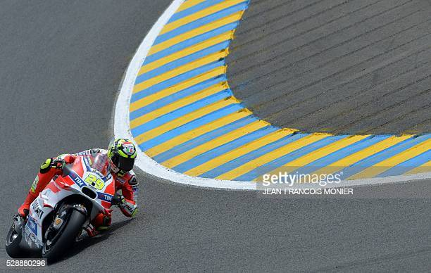 Italy's rider Andrea Iannone competes on his Ducatti N��29 during the qualifying cession of the MotoGP ahead of the French motorcycling Grand Prix on...