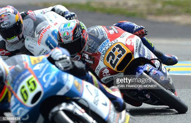 Italy's rider Niccolo Antonelli competes on his Honda OngettaRivacold N��23 and clocked the pole during the Moto3 qualifying cession of the French...