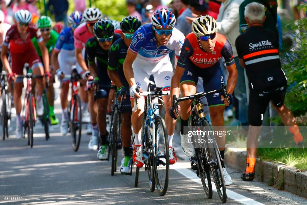 Italy's rider of team Bahrain - Merida Vincenzo Nibali (R), France's Thibaut Pinot (2ndR) of team FDJ and Colombia's Nairo Quintana of team Movistar (3rdR) compete during the 11th stage of the 100th Giro d'Italia, Tour of Italy, cycling race from Florence to Bagno di Romagna on May 17, 2017. Spaniard Omar Fraile, of the Dimension Data team, claimed his maiden win on a grand tour with victory in a thrilling 11th stage of the Giro d'Italia today. Race leader Tom Dumoulin, of Sunweb, retained the pink jersey after a 161 km ride from Florence to Bagno di Romagna to maintain his overall lead of 2min 23sec on 2014 champion Nairo Quintana (Movistar). PHOTO / Luk BENIES