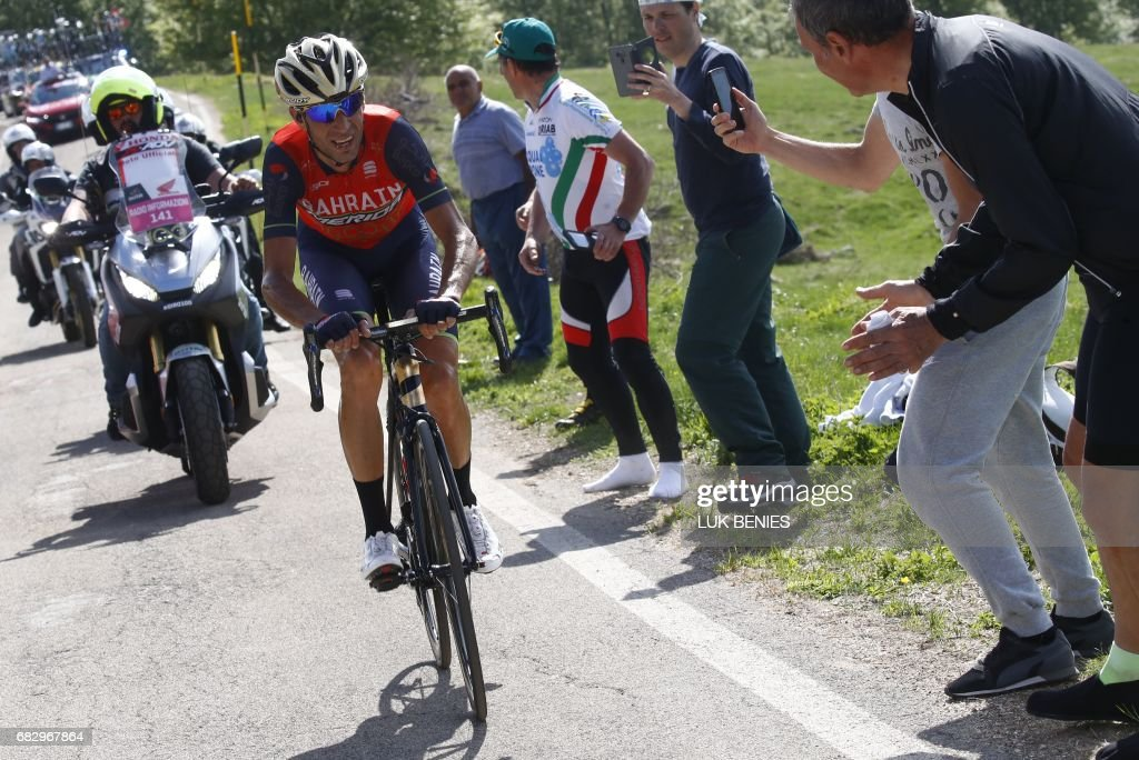 Italy's rider of team Bahrain - Merida Vincenzo Nibali rides during the 9th stage of the 100th Giro d'Italia, Tour of Italy, cycling race from Montenero di Bisaccia to Blockhaus on May 14, 2017. Colombia's Nairo Quintana soared to victory on a dramatic ninth stage of the Giro d'Italia on Sunday to claim the race leader's pink jersey. Movistar's Quintana came over the finish line 23secs ahead of Frenchman Thibaut Pinot and Dutchman Tom Dumoulin, to wrest the race lead from Luxembourg's Bob Jungels. PHOTO / Luk BENIES