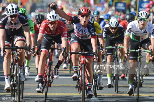 Italy's Sacha Modolo from UAE Emirates team wins the second stage a 132km Tarnowskie Gpry Katowice during the 74th edition of Tour of Poland 2017 On...