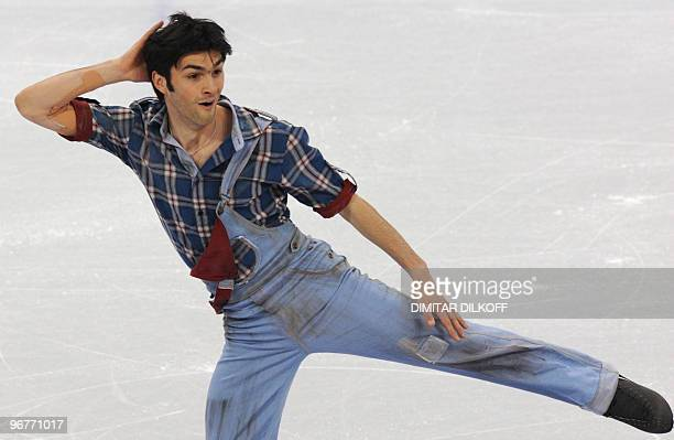 Italy's Samuel Contesti competes in the men's 2010 Winter Olympics figure skating short program at the Pacific Coliseum in Vancouver on February 16...