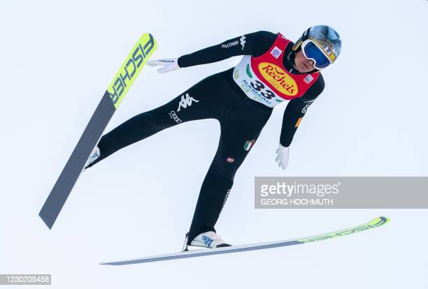 Italy's Samuel Costa competes during the FIS Nordic Combined World Cup in Ramsau am Dachstein, Austria, on December 19, 2020. / Austria OUT