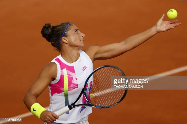 Italy's Sara Errani serves the ball to Netherlands' Kiki Bertens during their women's singles second round tennis match on Day 4 of The Roland Garros...